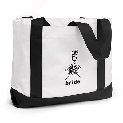 HBH™ 14 x 12 x 5 1/4 Bride Canvas Tote Bag With Black Handles, White