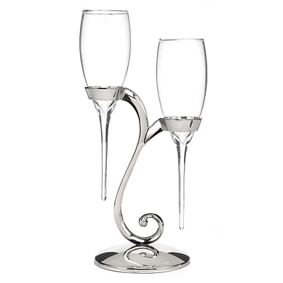 HBH™ Raindrop Flute Glasses With Swirl Stand, Clear/Nickel