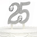 HBH™ 6(H) 25th Anniversary Gilded Cake Pick With Sparkling Clear Rhinestone Accents, Silver-Tone