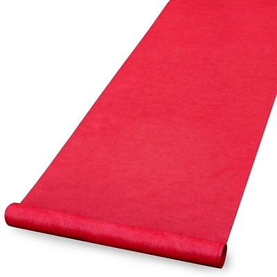 HBH™ Blank Aisle Runner With Pull Cord, 36 x 100, Red