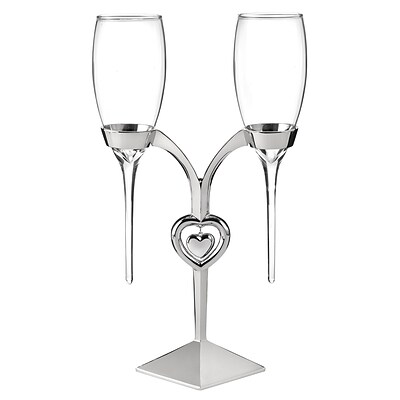 HBH™ Raindrop Flute Glasses and Holder, Clear/Silver