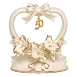 HBH™ 50th Anniversary Porcelain Cake Top With Shiny Gold Accents