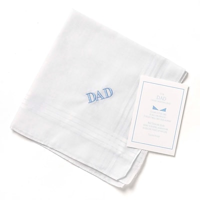HBH™ Dad Handkerchief With Blue Embroidery, White