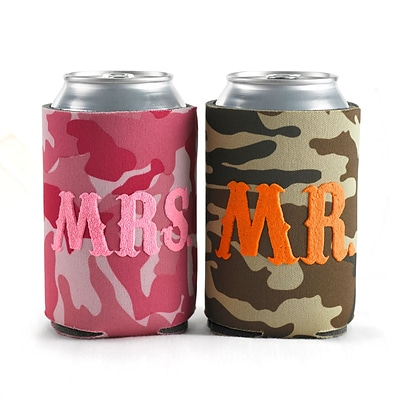HBH™ 4 1/4(H) Mr. and Mrs. Camo Can Cooler Set, Green/Pink
