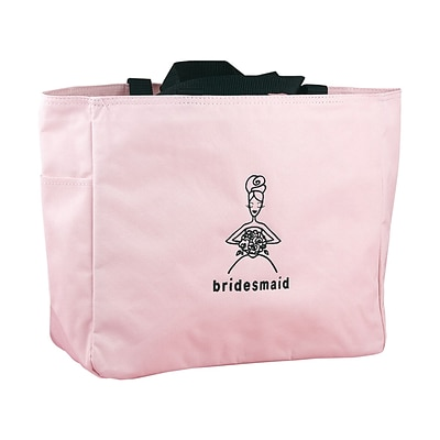 HBH™ 12 x 6 1/2 x 14 Bridesmaid Tote Bag With Black Handles, Light Pink