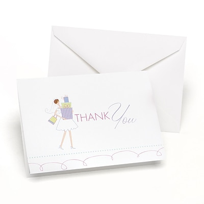 HBH™ Bridal Shower Thank You Cards; White/Pink