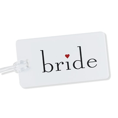HBH™ 4 1/4 x 2 1/4 Bride Luggage Tag With Clear Plastic Strap; White