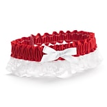 HBH™ Petite Garter With White Bows and Delicate Lace Trim, Red