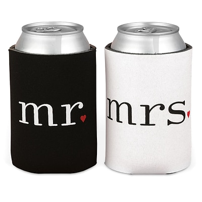 HBH™ 4 1/4(H) Mr. and Mrs. Can Coolers, Black/White