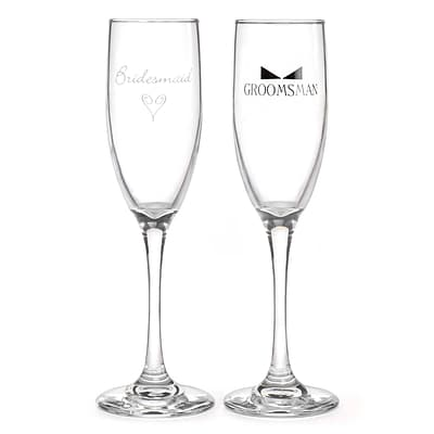 HBH™ Bridesmaid & Groomsman Flute Glasses With Tie, Clear