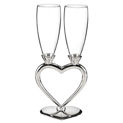 HBH™ Interlocking Heart Flute Glasses, Clear/Silver