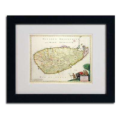 Trademark Fine Art Map of Ceylon 1626 11 x 14 Black Frame Art