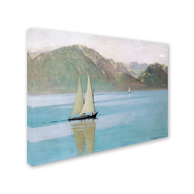 Trademark Fine Art Boat On Lake Geneva 1892 18 x 24 Canvas Art
