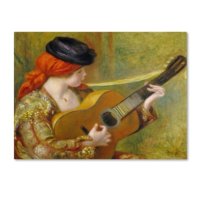Trademark Fine Art Young Spanish Woman With a Guitar 18 x 24 Canvas Art