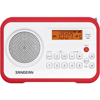 Sangean® PR-D18 FM/AM Digital Tuning-Portable Receiver; White/Red