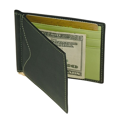 Royce Leather Mens Cash Clip Wallet, Lime Green