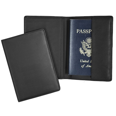 Royce Leather Passport Holder, Black