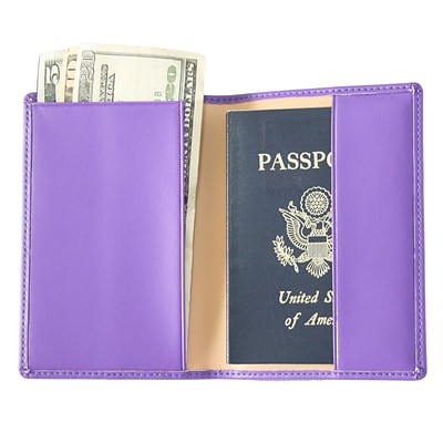 Royce Leather Foil Stamped Passport Jacket, Purple