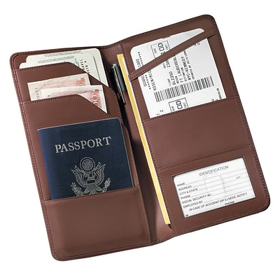 Royce Leather Passport Wallet, Coco