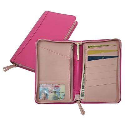 Royce Leather Passport Travel Wallet, Wildberry Carnation Pink