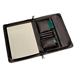 Royce Leather Zip Around Padfolio, Black