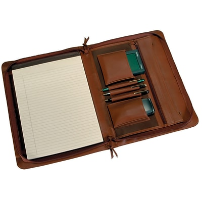 Royce Leather Zip Around Padfolio, Tan