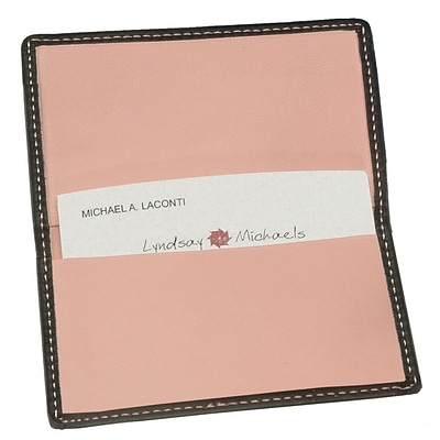Royce Leather Business Card Case, Metro Collection Carnation Pink