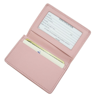 Royce Leather Deluxe Card Holder, Carnation Pink