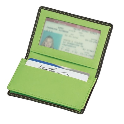 Royce Leather Deluxe Card Holder Metro Collection, Key Lime Green