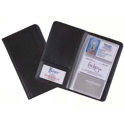 Royce Leather 3-Up Business Card File, Black
