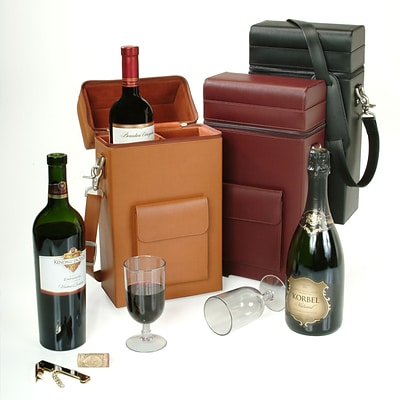 Royce Leather 14.75H x 7.75W x 4D Solid Wine Boxes, Burgundy