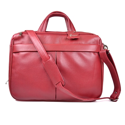 Royce Leather Laptop Briefcase, Red