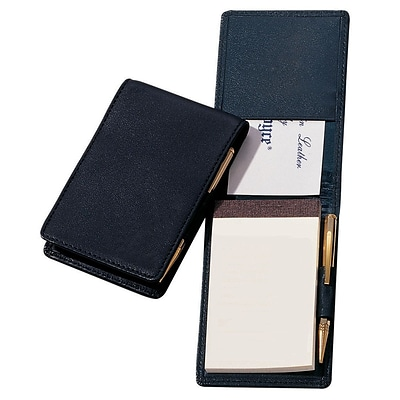 Royce Leather Flip Style Note Jotter, Black