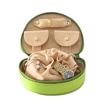 Royce Leather Jewelry Case;  Key Lime Green