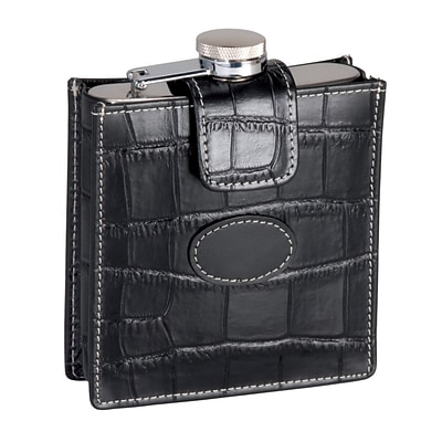 Royce Leather Crocodile Embossed Stainless Steel Flask 5 Ounce, Black