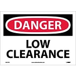 Danger Labels; Low Clearance, 10X14, Adhesive Vinyl