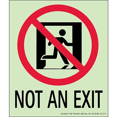 NYC Not An Exit Sign, 6.5X5.5, Flex, 7550 Glo Brite, MEA Approved