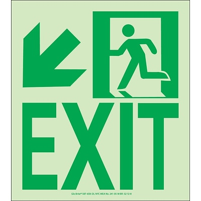 NYC Wall Mount Exit Sign, Down Left, 9X8, Flex, 7550 Glo Brite, MEA Approved