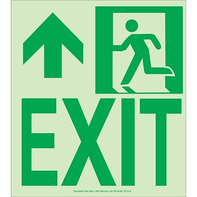NYC Wall Mount Exit Sign, Forward/Left Side, 9X8, Flex, 7550 Glo Brite, MEA Approved