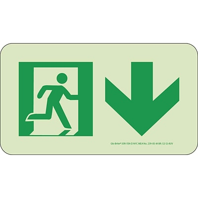 NYC Directional Signs; Down, 4.5X8, Rigid, 7550 Glo Brite, MEA Approved