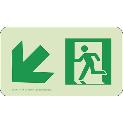 NYC Directional Signs; Down Left, 4.5X8, Rigid, 7550 Glo Brite, MEA Approved
