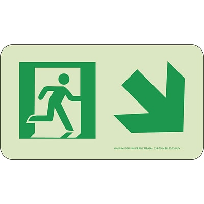 NYC Directional Signs; Down Right, 4.5X8, Rigid, 7550 Glo Brite, MEA Approved