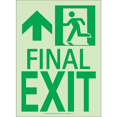 NYC Final Exit Sign, Forward/Left Side, 11X8, Flex, 7550 Glo Brite, MEA Approved