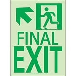 NYC Final Exit Sign, Up Left, 11X8, Flex, 7550 Glo Brite, MEA Approved