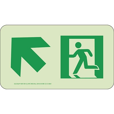 NYC Directional Signs; Up Left, 4.5X8, Rigid, 7550 Glo Brite, MEA Approved