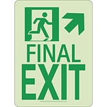 NYC Final Exit Sign, Up Right, 11X8, Rigid, 7550 Glo Brite, MEA Approved