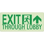 NYC Exit Through Lobby Sign, Forward Right Side, 7X16, Rigid, 7550 Glo Brite, MEA Approved