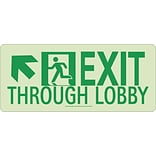 NYC Exit Through Lobby Sign, Up Left, 7X16, Rigid, 7550 Glo Brite, MEA Approved