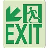 NYC Wall Mont Exit Sign, Down Left, 9X8, Rigid, 7550 Glo Brite, MEA Approved
