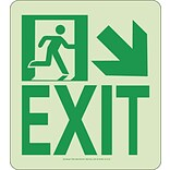 NYC Wall Mont Exit Sign, Down Right, 9X8, Rigid, 7550 Glo Brite, MEA Approved
